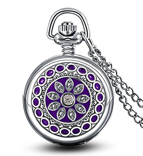 Infinite U Flower Pendant with Mirror Small Women Quartz Pocket Watch Silver Long Necklace with Gift Bag