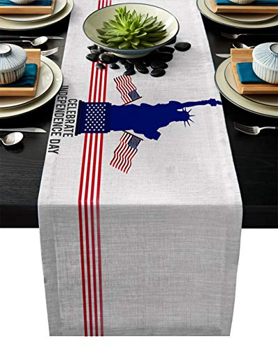 - Independence Day Cotton Linen Table Runner Rectangle Plate Mat Outdoor Rug Runner for Coffee Dining Banquet Home Decor, Statue of Liberty National Monument with American Flag Scenery, 14 x 72 inch