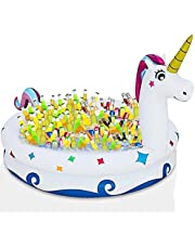 """TURNMEON 130+ Cans Super Large Capacity 59"""" Giant Unicorn Inflatable Cooler, Inflatable Serving Bar Ice Tray Food Drink Cooler with Drain Plug Picnic Luau Hawaiian Pool Party Supplies Indoor Outdoor"""