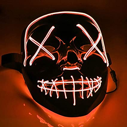 Krassu - New and LED Mask The Purge Mascara Led Mask Light Up Neon Skull Mask