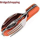 Bridge2shopping 3 in1 Function Eating Utensil Stainless Steel Multi-Tool Camping Folding Pocket Knife, Fork Spoon Set