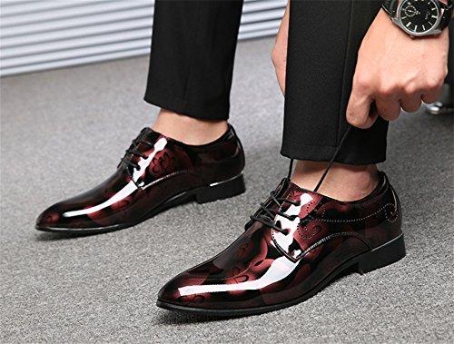 uomo tendenza pelle 49 Scarpe scarpe tendenza 37 uomo rosso moda di da a punta dimensioni in di grandi XIE da wqEIC61w