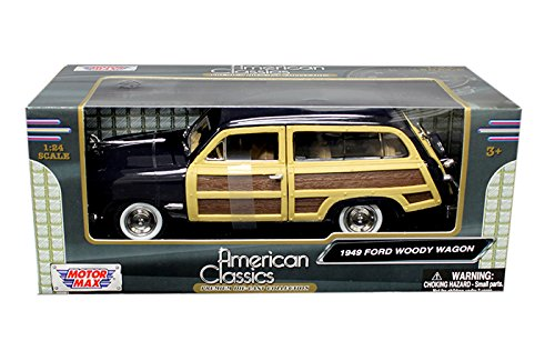Metal Classic Wagon (New 1:24 W/B MOTOR MAX AMERICAN CLASSICS COLLECTION - DARK BLUE 1949 FORD WOODY WAGON Diecast Model Car By MOTOR MAX)