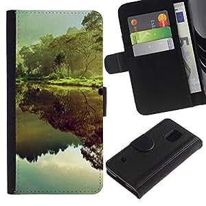 KLONGSHOP / Tirón de la caja Cartera de cuero con ranuras para tarjetas - Reflection Rainforest Green Trees - Samsung Galaxy S5 V SM-G900