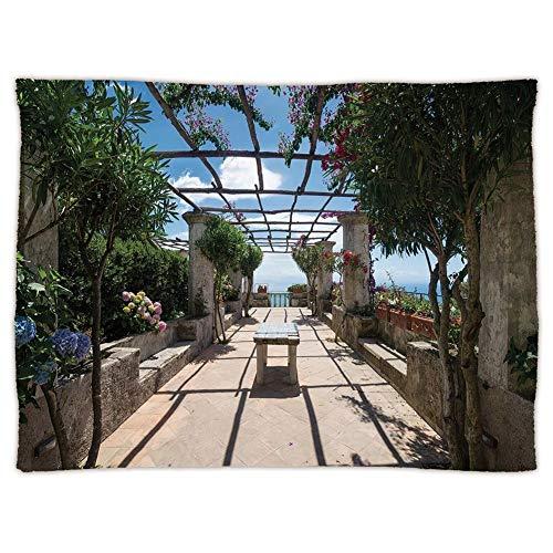 Amalfi Sofa (Yaoni Super Soft Throw Blanket Custom Cozy Thickened Blanket,Italian Decor,Beautiful Panorama Villa Rufolo Ravello Amalfi Coast Historical Famous Nature,Multicolor,Red,Suitable for Sofas,beds)