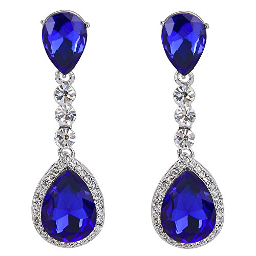 (BriLove Wedding Bridal Dangle Earrings for Women Crystal Teardrop Infinity Figure 8 Chandelier Earrings Royal Blue Sapphire Color)