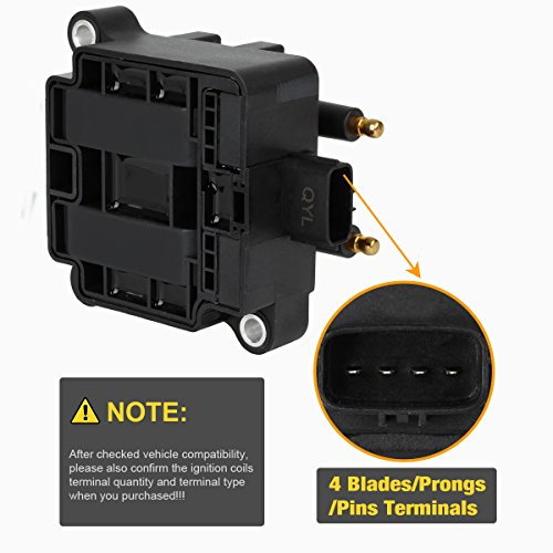 Ignition Coil 4 Pin for Subaru 1 packs Impreza Legacy Outback Forester Baja 2.2L 2.5L Compatible with 22433-AA410 22433-AA570