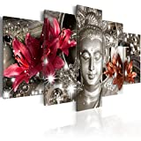 Buddha Canvas Wall Art Silver Contemplation 5 Panels Wall Decor Framed Modern Picture Print Painting