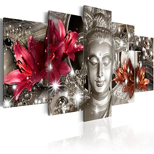 Extra Large Silver Contemplation 5 Panels Buddha Print on Canvas Wall Art Decor Huge Religion Picture Painting ()