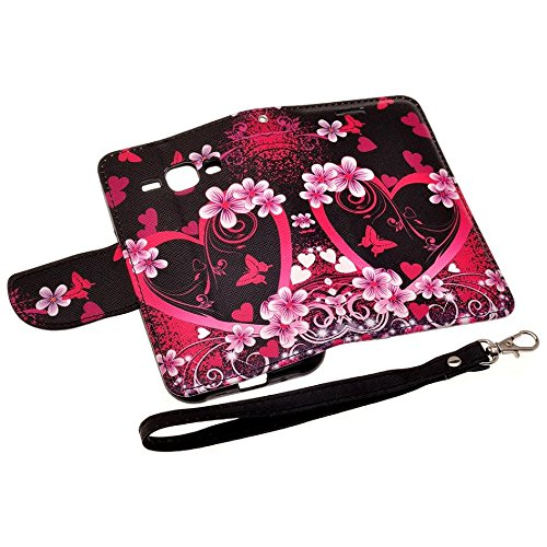 Microseven® Samsung Galaxy J1 J100H Case Cover (VERIZON), Magnetic Leather Flip Wallet Case with Card Slots Cash Compartment For Galaxy J1 Case + 1 Touch Screen Stylus with Microseven Packaging (WALLET LILY FLOWER LOVE HEART)