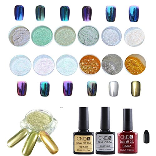 Sunfei 1 Set 12 Colors Nail Art Shinning Mirror Glitter Powder Chrome Pigment Black UV Gel Top Base Coat (12PC)