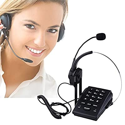 Bizoerade Call Center Dialpad Monaural Corded Headset Telephone with Noise Cancellation, Pc Recording Function Ideal for Small Office