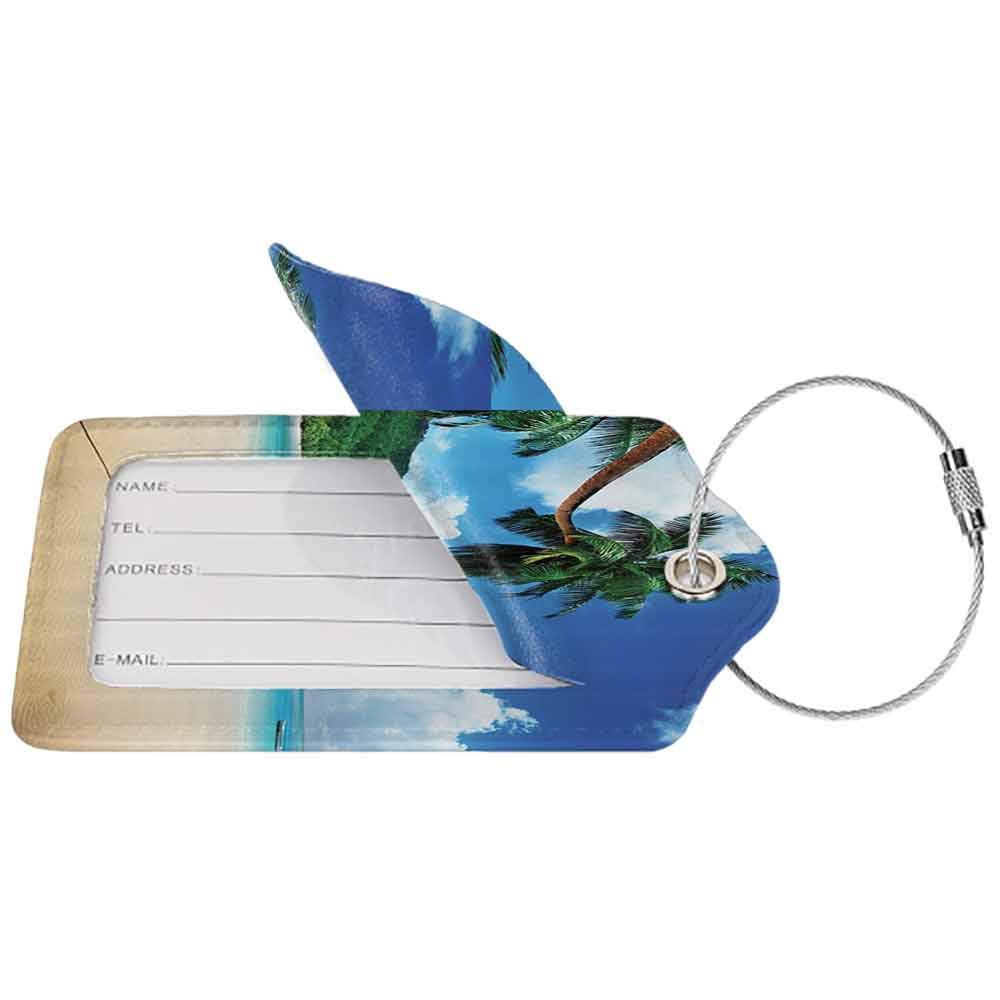 Printed luggage tag Ocean Coastal View Boat on the Beach Mahe Lagoon and Forested Area Picture Protect personal privacy Blue Ivory and Green W2.7 x L4.6