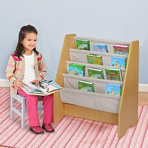 TKI-S Children's Wooden 4 Layer Fabric Sling Bookcase Toy Picture Book Storage Rack for Book Storage in Toddler bedrooms, Games Rooms, Nurseries or Living Rooms(Wood Color, 6.67 pounds)