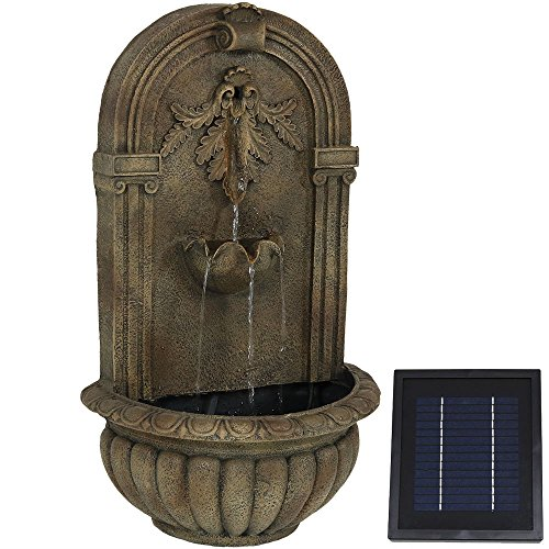 (Sunnydaze Florence Solar-on-Demand Wall Fountain, Florentine Stone Finish, Solar on Demand Feature)
