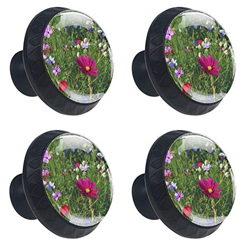 4pcs Drawer Knob Pull Handle Colorful Wildflowers Pulls Cupboard Knobs with Screws for Home Office Dresser Furniture Wardrobe Handles 35mm