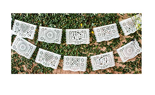 Papel Full of Wishes Medium Plastic White Papel Picado Banner - 12 Panels / 16 Feet Long Hanging - Ideal for Weddings, Baptisms, Birthdays, Posadas, -
