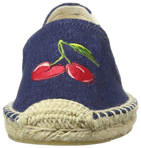Pantofola Per Fumatori Da Donna Soludos Ricamata Blu Scuro