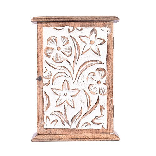 10 X 7 Inches Wooden Key Rack Holder Box Cabinet Storage Container Wall Mounted With Floral Motif and 6 Hooks Hand Carved Distressed Finish Shabby Chic Decorative Item
