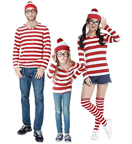 Peachi Red and White Stripe Cosplay T Shirt Family Halloween Costume Inspired Where's Waldo (Woman, XXL) ()