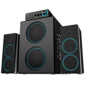 Arion Legacy Deep Sonar 750 Bone Crushing Bass Gigantic Size 2.1 PC Speakers with Dual Subwoofers and Control Box Connects TV, Headphone, Microphone and Charges USB Devices