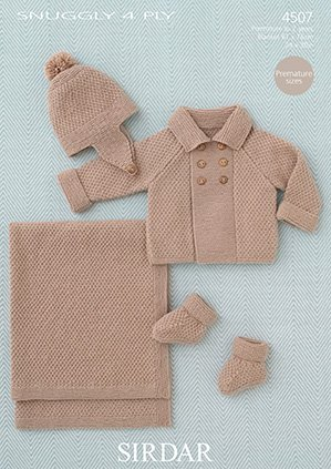 Sirdar Snuggly 4 Ply Knitting Pattern 4507 Baby Boys Coat Helmet
