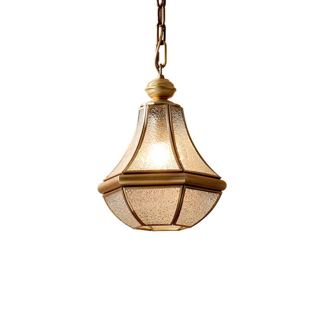 LOFAMI European Style Retro Luxury Copper Chandelier Glass Lampshade E27 Pendant Lamp Living Room Corridor Cafe Study Decoration Ceiling Lamp, 28 32CM