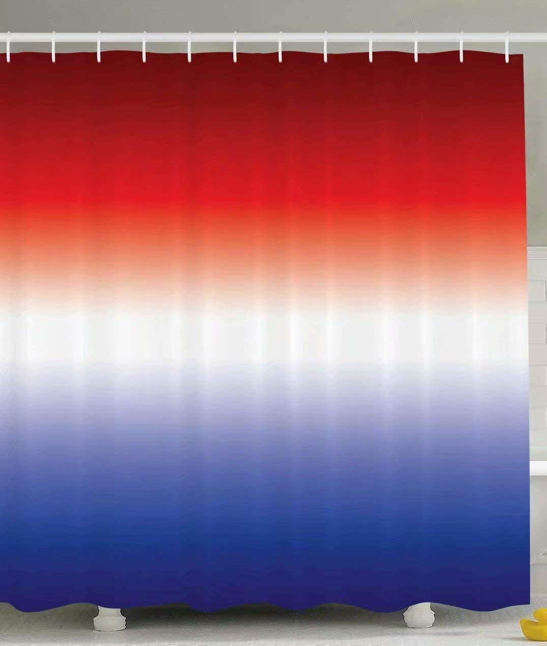 KANATSIU Red White Blue£¬Ombre Colorful Design Inspirational Art Decor Shower Curtain,with 12 plactic hooks,100% Made of Polyester,Mildew Resistant & Machine Washable,Width x Heght is 60x72