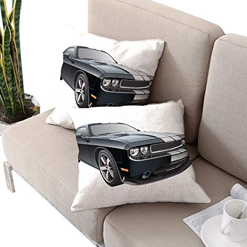 Josepsh Cars Square futon Cushion Cover,Black Modern Pony Car with White Racing Stripes Coupe Motorized Sport Dragster Black Grey White W20 xL20 2pcs Cushion Cases Pillowcases for Sofa Bedroom - Cover Madrid Futon
