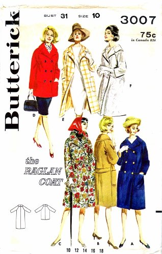 Butterick 3007 Vintage Sewing Pattern Raglan Sleeved Coat Check Offers for Size ()