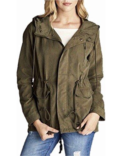 Peachskin Jacket - Olive Green Khaki Utility Jacket Peach Skin Long Sleeve Hooded Casual (Olive, Medium)