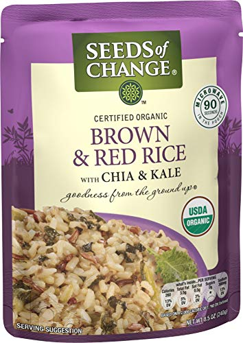 Seeds Of Change Organic Brown & Red Rice with Kale (6 Pack), Ready to Heat 8.5 oz Pouches
