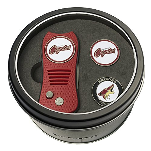 Team Golf NHL Arizona Coyotes Gift Set Switchblade Divot Tool with 3 Double-Sided Magnetic Ball Markers, Patented Single Prong Design, Causes Less Damage to Greens, Switchblade Mechanism