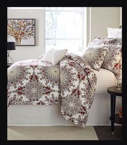 Noble Excellence Sienna Large Medallion 3 Piece Full/Queen Duvet Cover Set - Red Ivory - Sienna Duvet Cover