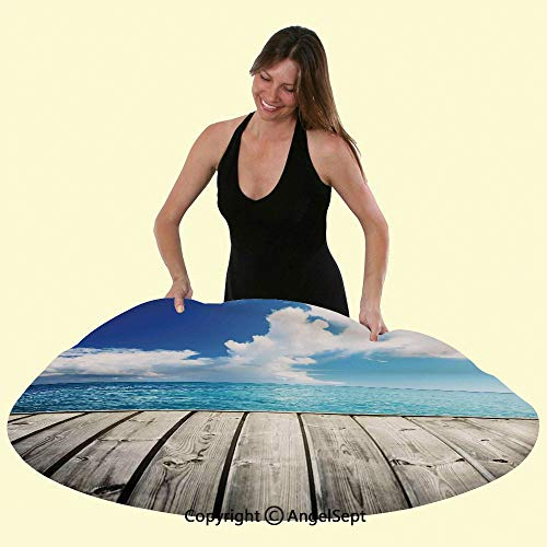 Polyester Customize Tablecloth Image of Caribbean Sea from Wood Deck with Cloud Sky Landscape in Tropics Waterproof Table Top Cover for Kitchen Dining Room Table Protection,Turquoise White Brown