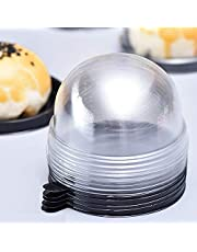 50 Set Clear Plastic Mini Cupcake Boxes Muffin Pod Dome Muffin Single Container Box Wedding Birthday Gifts Boxes Supplies (Black)