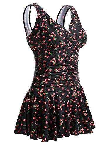 MiYang Women's Plus-Size Black Cherry Shaping Body One Piece Swim Dresses Swimsuit YT Tag 3XL(US XL)