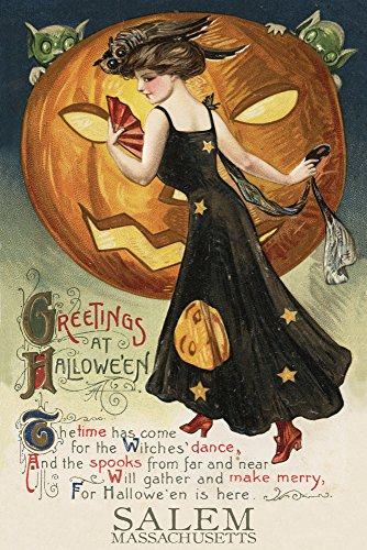 Salem, Massachusetts - Halloween Witch Dance - Vintage Postcard (12x18 SIGNED Print Master Art Print w/ Certificate of Authenticity - Wall Decor Travel Poster) - Massachusetts Vintage Postcard