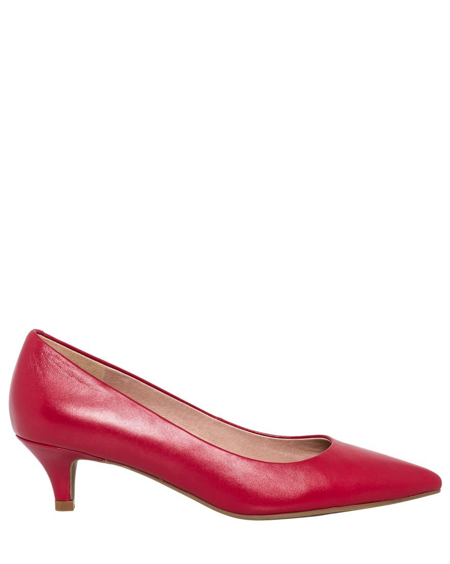 LE CHÂTEAU Women's Elegant Leather Pointy Toe Pump,10,Red