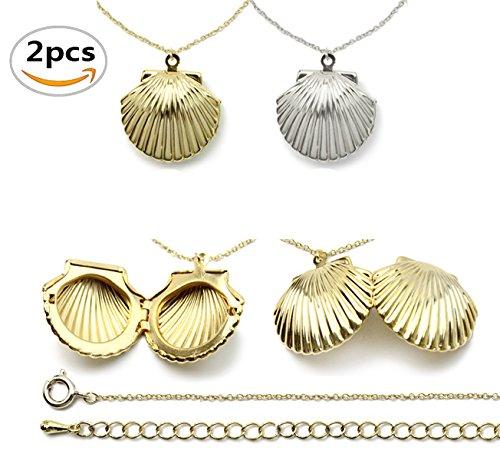 Amersumer 2PCS Gold Silver Seashell Locket For Mermaid Valentine Necklace, Beach Locket,Can (Sea Shell Clasp)
