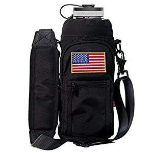 YISIBO 40 oz Pouch / Sleeve with Carrying Handle for Hydro Flask Bottles w/ 2 Pockets Adjustable Shoulder Strap Embroidered Velcro Badge (Black, or 40 oz Hydro Flask Bottle)