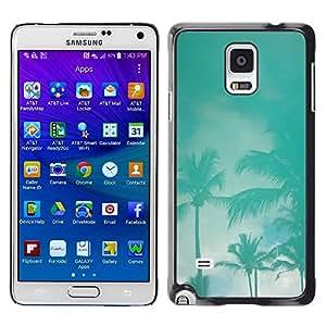 TopCaseStore / la caja del caucho duro de la cubierta de protección de la piel - Palms Teal Storm Miami California Sky - Samsung Galaxy Note 4 SM-N910
