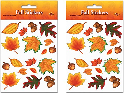 Fall Leaf Stickers Party Accessory (2 count) (4 Shs/Pkg)