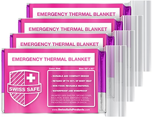 UPC 703856860667, Swiss Safe Emergency Mylar Thermal Blankets (4-Pack) + BONUS Signature Gold Foil Space Blanket: Designed for NASA – Perfect for Outdoors, Hiking, Survival, Marathons or First Aid (Pink)