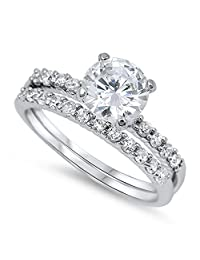 White CZ Round Solitaire Promise Ring Set .925 Sterling Silver Band Sizes 5-10
