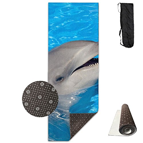 Non Slip Yoga Mat Cute Dolphin Premium Printed 24 X 71 Inches Great For Exercise Pilates Gymnastics Carrying -