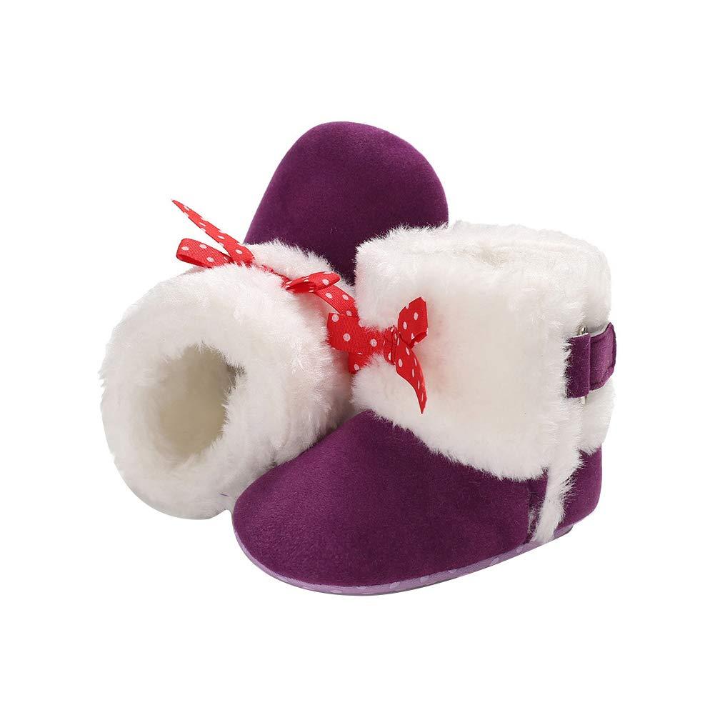 Purple 11cm Alamana Bowknot Warm Newborn Baby Boy Girl Infant Anti-Slip Prewalker Toddler Shoes