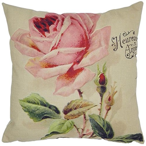 AIMTOPPY 18 x 18-Inch Decorative Vintage Square Throw Pillow Cover Cushion Case Colourful flower (For Living Room, Sofa, (Vintage Linen Burlap Roses)