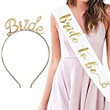 YULIPS Bride To Be Sash & Headband Tiara Set – Accessories for Bachelorette Party Bridal Shower Hen Party