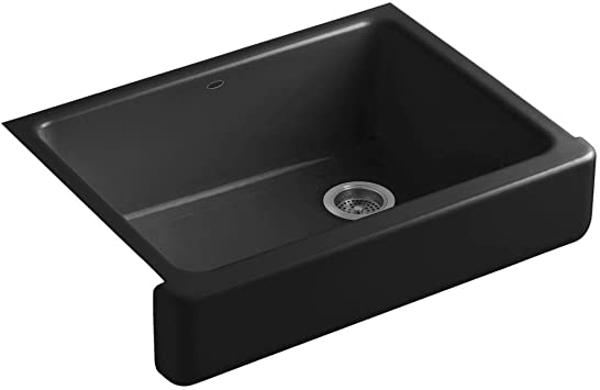 Kohler K 6486 7 Whitehaven Farmhouse Self Trimming Apron Front Single Basin Kitchen Sink With Short Apron Black Single Bowl Sinks Amazon Com